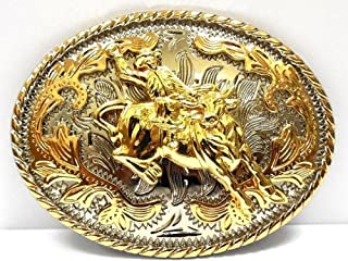 Big Belt Buckle Classic Western Cowboy Style Bull Rider Oval Gold Rodeo
