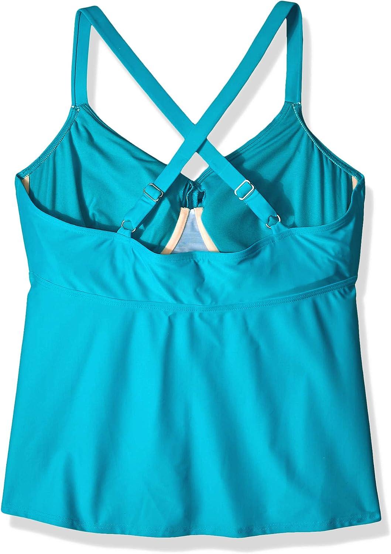 Brand Coastal Blue Womens Plus Size Wrap Front Underwire Tankini Top