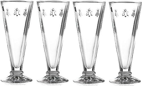 2021 La wholesale Rochere outlet online sale Set of 4 Bee Design Glass Champagne Flutes sale