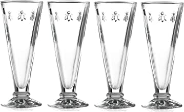 La Rochere Set of 4 Bee Design Glass Champagne Flutes