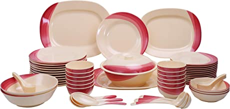 Royalford Melamine 64 Pieces Melamine Dinner Set, Multi-Colour, RF8102