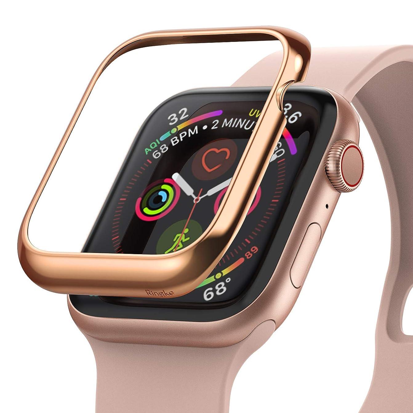 弾丸サーバント冒険家【Ringke】Apple Watch 40mm ケース メタリック Apple Watch series 5 series 4 case コンパチブル アップルウォッチ 5 / 4 脱着簡単 衝撃吸収 [Apple Bezel Styling] AW4-40-02 (Glossy Rosegold ローズゴールド)