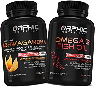 Organic Ashwagandha and Omega 3 Fish Oil (90+90 Pills) - Max Potency, Anti-Anxiety & Stress Relief - Anti Inflammatory Natural Supplement for Joint Support & Heart Health - Boost Mood and Energy
