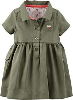 Carter's Baby-Girl Sateen Cargo Dress w/Diaper Cover (Olive)