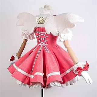 CHENJUNAMZ Animado de Lujo Card Captor Sakura Kinomoto Sakura Cosplay Trajes Rosados Vestido de Pana Carnaval de for Las...