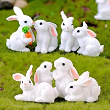 Smilesky Miniature Bunny Figure Animal Rabbit Toys Fairy Garden Party Decorations White (Pack of 8)