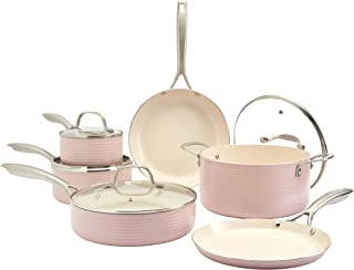 Denmark Tools for Cooks Monaco Cookware Collection Non-Stick Durable Aluminum Oven Safe, 10 Piece Monaco Cookware Set in P...