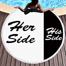 KTLRR Her Size & His Side Beach Towels,Microfiber Terry Beach Circle Picnic Carpet Yoga Mat With Fringe For Women,White and Black 59 Inch Diameter Blanket (H, 59 inches)