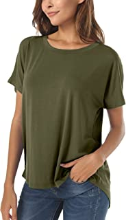 Herou Casual Summer Short Sleeve High Low Loose T Shirt Basic Tees Tops for Women