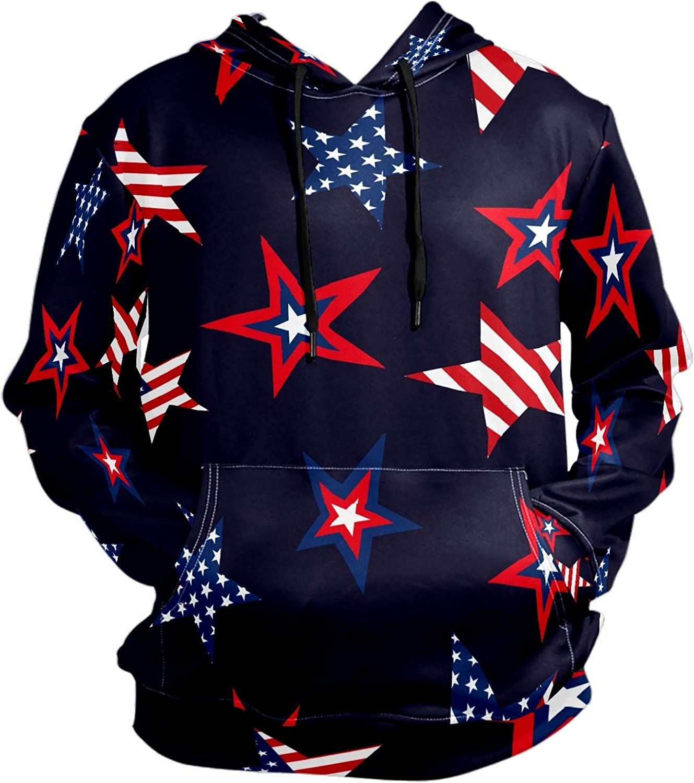Men's Sport Hoodie Star Sharp American Flag Big and Tall Hoodies for Men Women Oversized Hooded Sweatshirt Hip Hop Pullover Hoodie Midweight Hood for Boys Girls