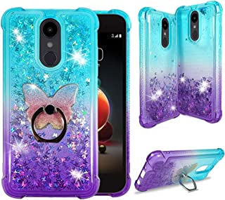 Zase Design Case for LG Stylo 5, LG Stylo 5 Plus Liquid Glitter Bling Cute Protective Cover 3D Waterfall Floating Butterflies Quicksand Shockproof Bumper w/Phone Ring Holder (Gradient Aqua Purple)