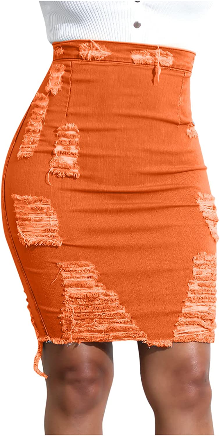 Maryia Womens Distressed Ripped Casual High Waist Bodycon Denim Short Skirt Slim Fit Jean