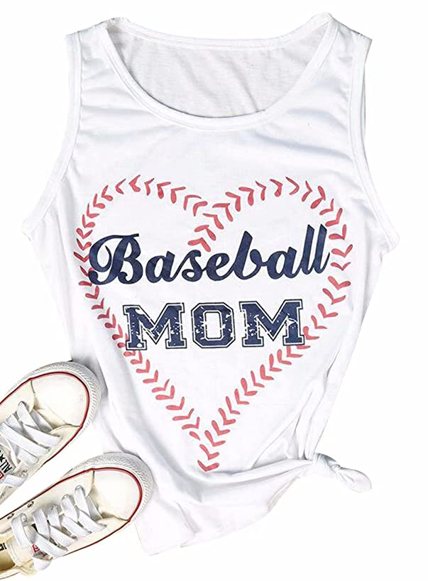 KIDDAD Women's Baseball Mom Heart Graphic Funny Tank Tops Sleeveless Loose Fit Letter Print Shirt Blouse