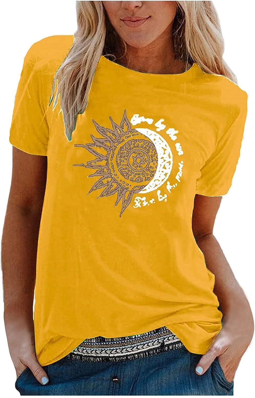 Summer Women's T-Shirt Sun Free Shipping New and Moon Print C Sleeve Short Popular product Pattern