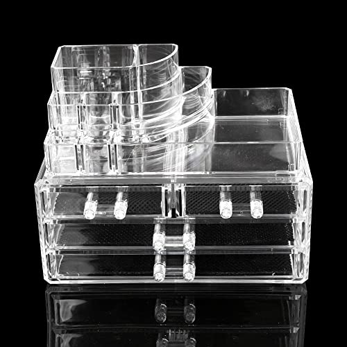 new arrival Mallofusa high quality Acrylic Jewelry and Cosmetic Storage sale Makeup Organizer Set, 2 Pieces outlet sale