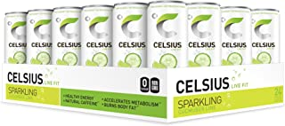 CELSIUS - Sweetened with Stevia - Sparkling Cucumber Lime Fitness Drink, ZERO Sugar, 12oz. Slim Can, 24 Pack