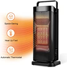 Ceramic Space Heater for Office - Quiet Tower Heater Heat Up in Seconds Portable Small Personal Heater for Desk with Adjustable Thermostat,Oscillating Heater Fan for Home, Indoor Use