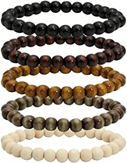 MILAKOO 5 Pcs Wooden Beaded Bracelet Bangle for Men and Women Elastic