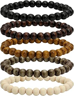 Wood Bead Bracelet Tibetan Buddhist Meditation Mala Prayer Beads Men Elastic Bracelet 6/8mm