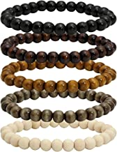 MILAKOO 5 Pcs Wooden Beaded Bracelet Bangle for Men and Women Elastic 8MM Beads