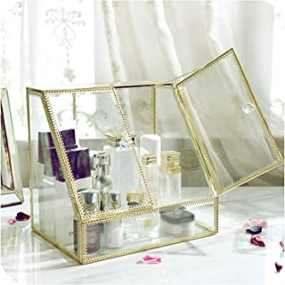 Glass Transparent Makeup Organizer Lipstick Cosmetic Storage Box Make Up Organizer Desktop Drawers Organizer Girl Gift,04
