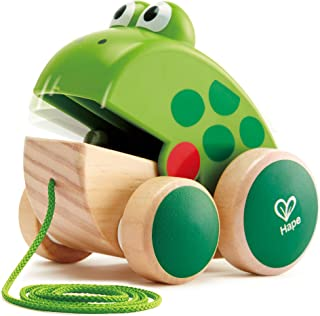 Hape Frog Pull-Along | Wooden Frog Fly Eating Pull Toddler Toy, Bright Colors