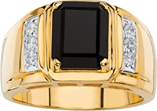 Men's 18K Yellow Gold Plated Round Genuine Diamond and Natural Black Onyx Ring (1/5 cttw, I Color, I3 Clarity)