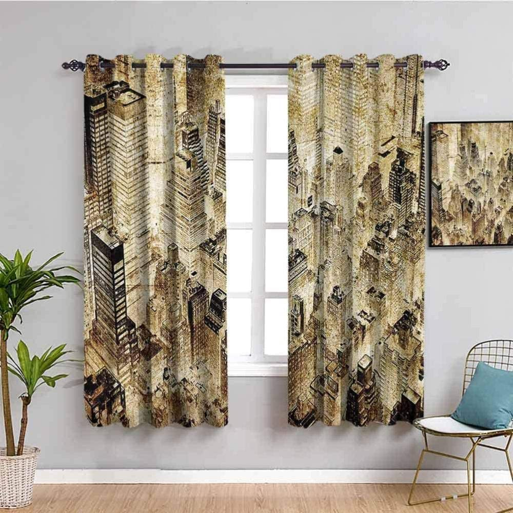 Animer and price revision ZLYYH Curtain Retro City Architecture xL72 Blackout W52 Ruins Cu Super intense SALE