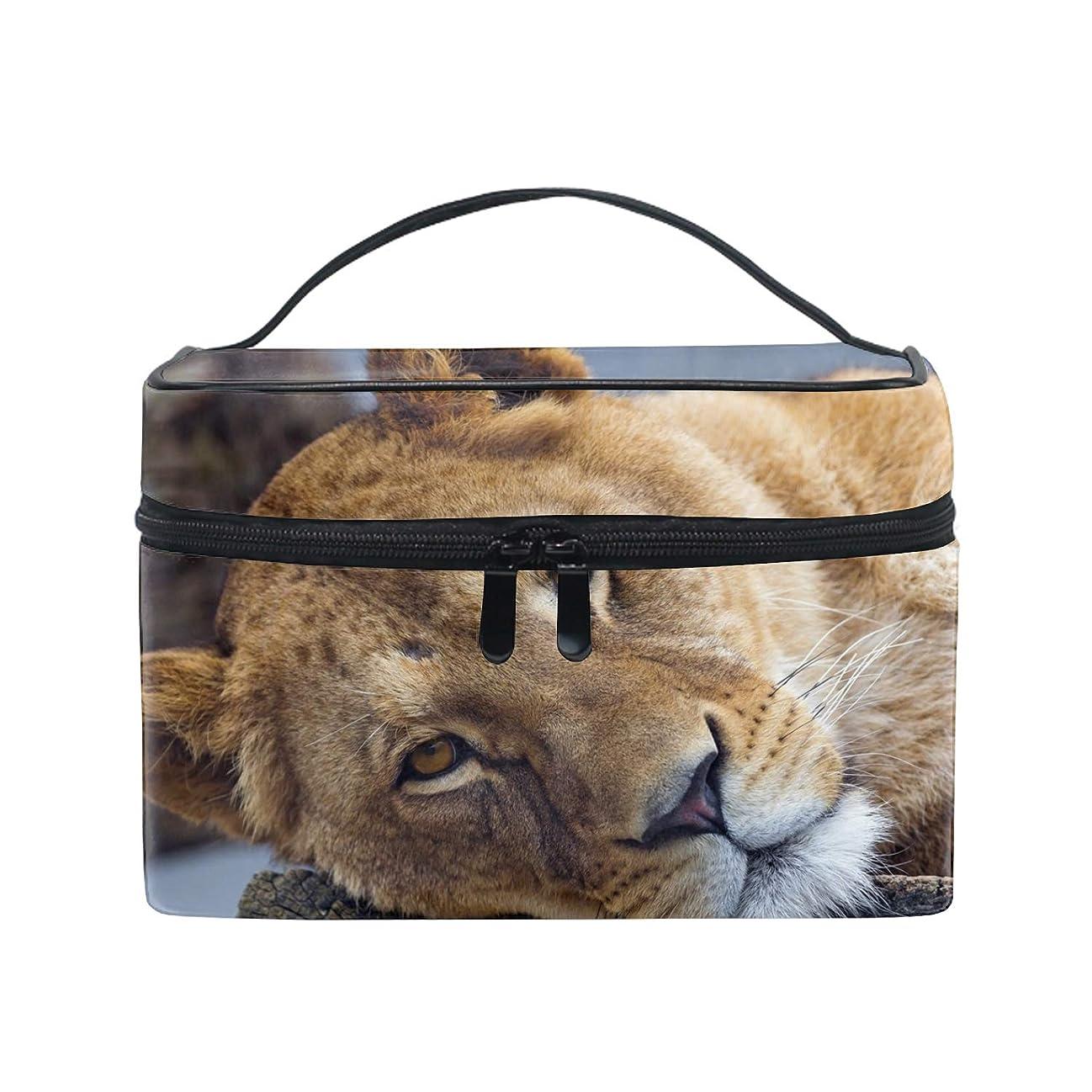 フィット毛細血管詩ライオンコスメバッグ 化粧ポーチ メイクバッグ ギフトプレゼント用 携帯可能