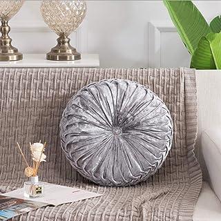 niumanery Cojín de terciopelo plisado de estilo europeo hecho a mano de la rueda redonda de la calabaza cojines de asiento 08#