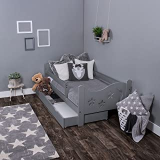 KAGU Toddler Bed  Chrisi  House-Shaped Bed Frame  Toddler Bed  Comfortable  Cosy  Safe Wooden Bed  for Boys  for Girls Multifunctional  Children s Room d cor  Grey  140 cm