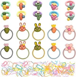 Hair Ties For Girls 20PCS/10Pairs Cute Rubber Bands Soft Elastic Ponytail Holders Cartoon Accessories With 100PCS Mix Colo...