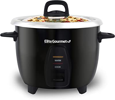 Elite Gourmet Maxi-Matic Arrocera eléctrica con olla interior de acero inoxidable hace sopas, guisos, gachas, granos y cereales, 10 tazas cocinadas (5 tazas sin cocinar), color negro