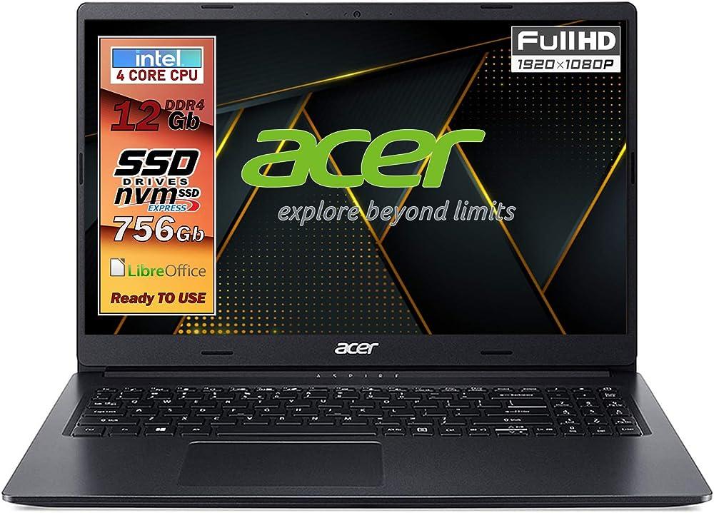 Acer, notebook ssd, pc portatile, acer intel n4120, 4 core, ram 12gb, ssd 756gb, scheda video intel uhd 600