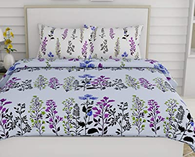 haus & kinder Dream Floral Romance 100% Cotton Double Bedsheet with 2 Pillow Covers, 144 Thread Count (Magic Blue)