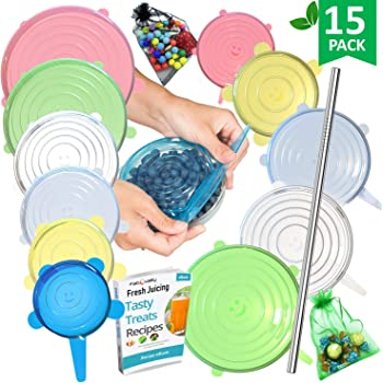 FabQuality 15PCS - Silicone Stretch Lids 13pcs, 1x + Oil Funnel and 1x Garlic Peeler. Various Sizes and Shape of Containers,Reusable, Durable and Expandable Food Covers, Dishwasher and Freeze