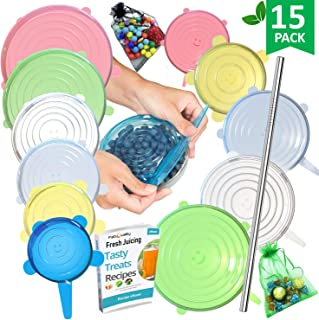 Silicone Stretch Lids 12pcs XXL, Metal Drinking Straw + 2 Gift bags, Various Sizes and Shape of Containers, Reusable, Durable + Expandable Food Covers, Keeping Food Fresh, Dishwasher