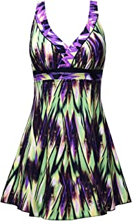 Septangle Women's Plus Size Swimdress Vintage Floral Print One Piece Swimsuit