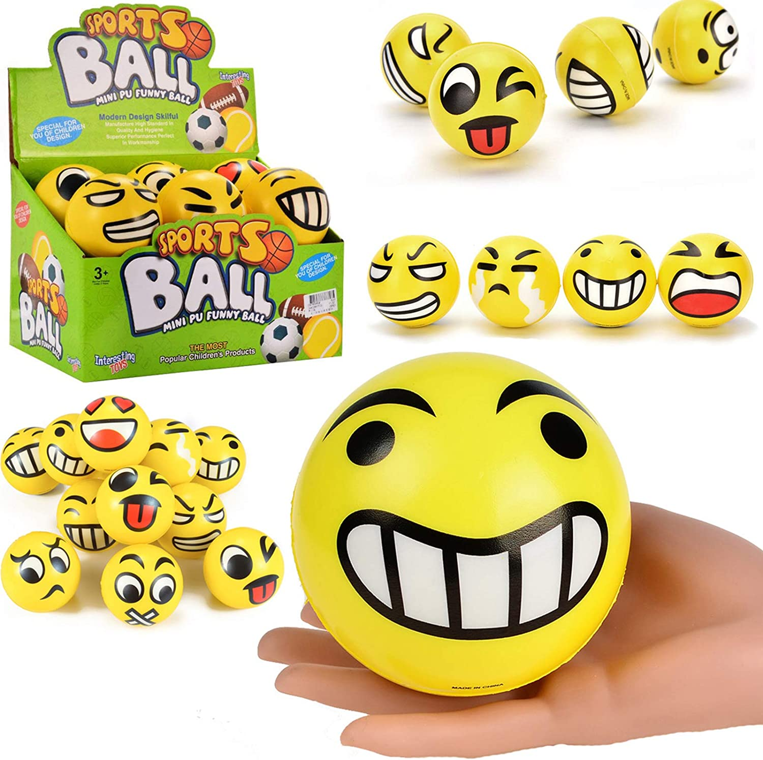 Jumbo Size Emoji Foam Balls Funny Soft Stress 67% OFF of fixed price Yellow Face Limited Special Price Reli