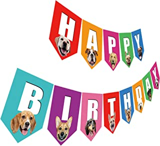 Dog Birthday Banner, Happy Birthday Sign with Dog Face, Colorful Dog Bday Party Bunting Decoration