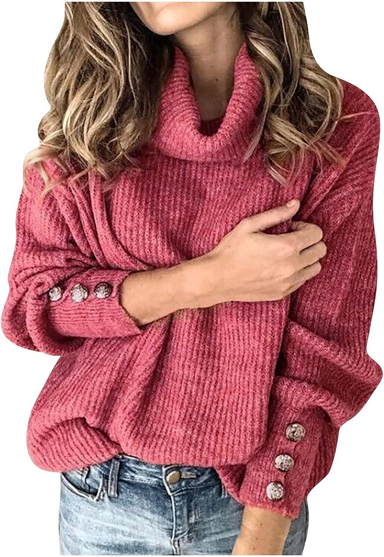 Women's Turtleneck Knitted Jumper Sweater Long Sleeve Elegant Casual Tops Summer Autumn Watermelon Red
