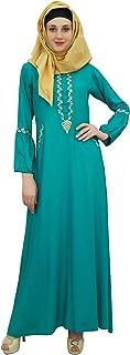 BImba Women's Muslim Green Abaya Aari Work Jilbab Islamic Dress with Hijab-24