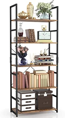 NUMENN 5 Tier Bookshelf, Tall Bookcase Shelf Storage Organizer, Modern Book Shelf for Bedroom, Living Room and Home Office, V