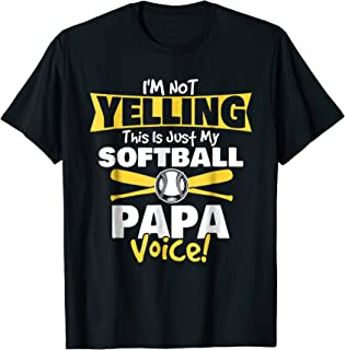 Mens This is my softball Papa Voice, Grandpa T-Shirt