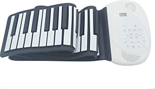 Roll up Piano 88 Portable Piano ESHENMA RO-A88 Flexible soft power digital roll keyboard built-in loud dual speaker USB charge AA battery for children beginners (88-2S, WHITE)2019 newest Digital Piano