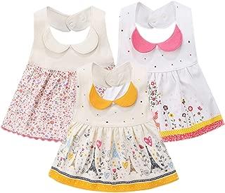 GZMM 3-Pack Baby Girl's Bibs Dress Infant Toddler Waterproof Burp Cloths with Adjustable Snaps