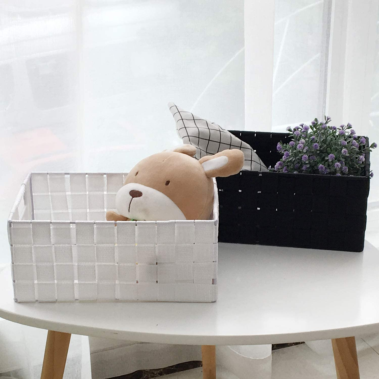 WM Homebase 3er Set Aufbewahrungsk/örbe geflochten Aufbewahrungskorb mit Griffen Polypropylen Regalkorb Badkorb in Grau 28x18x12 cm