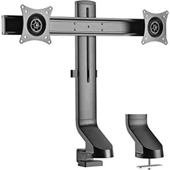 """AVLT Dual 27"""" Monitor Mount for Standing Desk Converter - Low-Profile Base Compatible with Sit-Stand Workstation Thin Tabletops Height Adjutable VESA Adapter for 15.4 lbs Screen"""