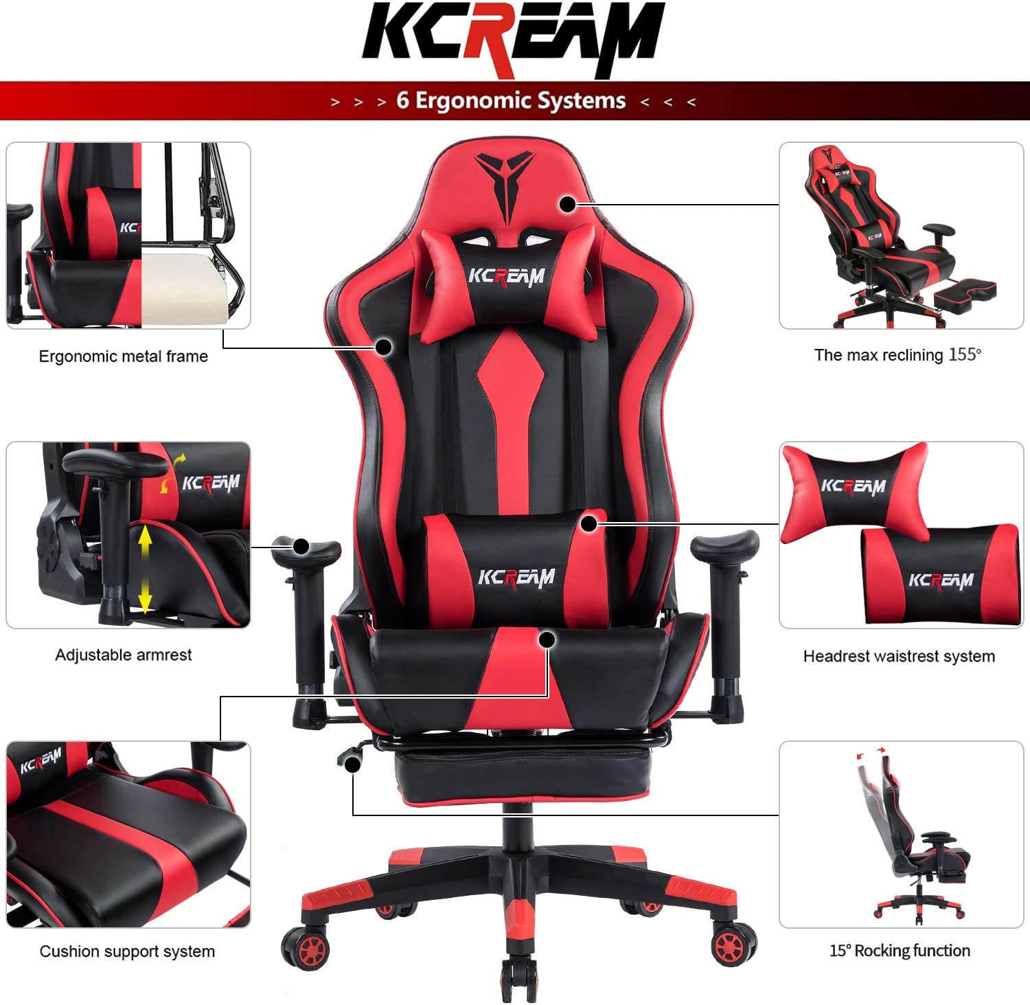 Red KCREAM E-Sports Chair with Headrest and Lumbar Pillows PVC Leather Ergonomic High-Back Gaming Chair Adjustable Height Professional Gamer Chair