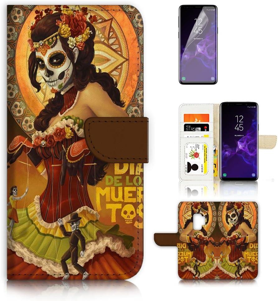 (for Samsung S9+ / Galaxy S9 Plus) Flip Wallet Case Cover & Screen Protector Bundle - A9538 Sugar Skull